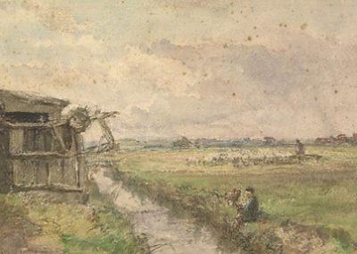 Pécheur à  la ligne au bord d'un ruisseau 1871