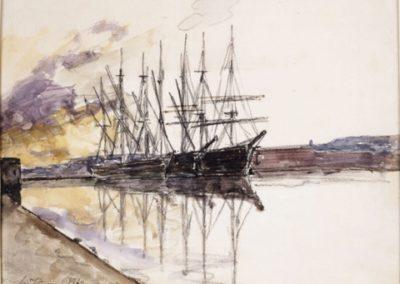 Bateaux dans le port du Havre 1862