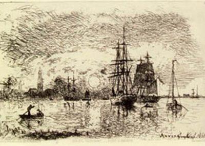 Soleil couchant port d'Anvers 1868