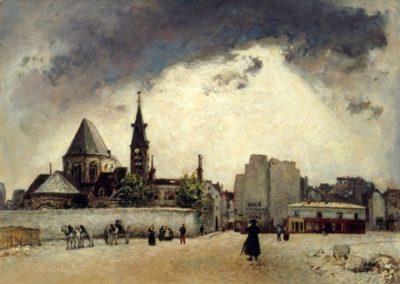L'église Saint Médard et la rue Mouffetard à  Paris 1871
