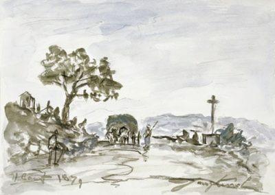 Col de Balbins avec charrette et croix - 1883