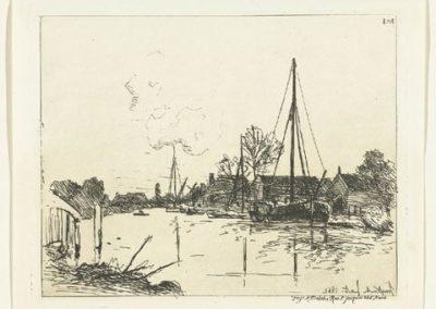 Vues de Hollande : Le canal - 1862 Tableau de Jongkind