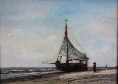 Bateau de pêcheur sur la plage 1861